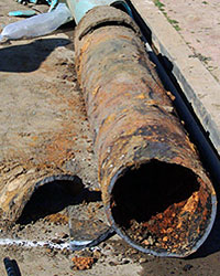 Corroded cast-iron gas pipe. Credit: San Diego.gov