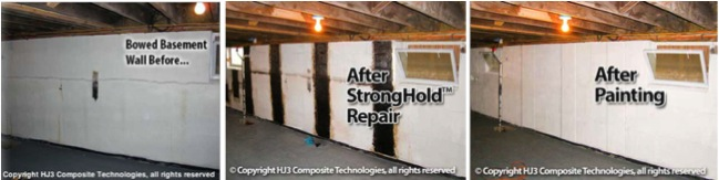 StrongHold's bowed wall repair kit successfully strengthened this basement wall in just one day!