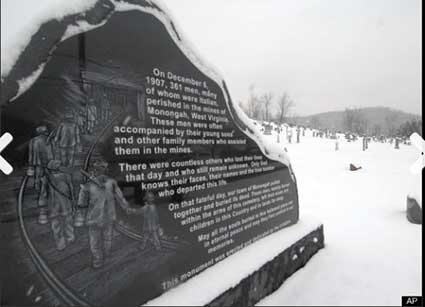 A memorial for the 361 miners who died in West Virginia's Monongah mining disaster in 1907. Photo Credit: Associated Press