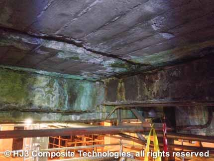 The beams and ceiling slabs at this mine were severely degraded.