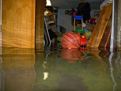 Waterproof your basement to prevent flooding like this! Photo Credit: ThrasherBasements.com