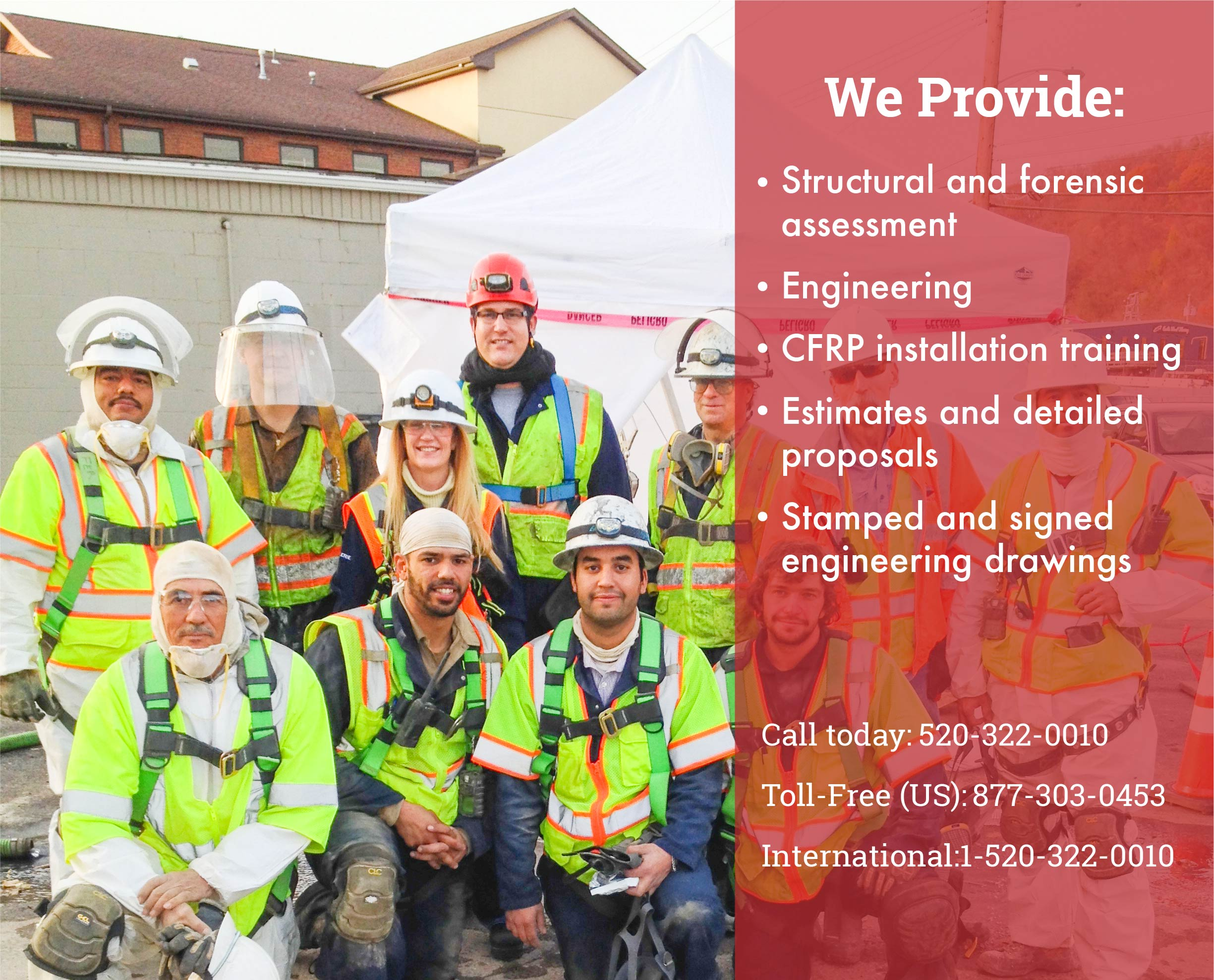 Services we provide structural and forensic assessment. Engineering. CFRP installation training. Estimates and detailed proposals. Stamped and signed engineering drawings.