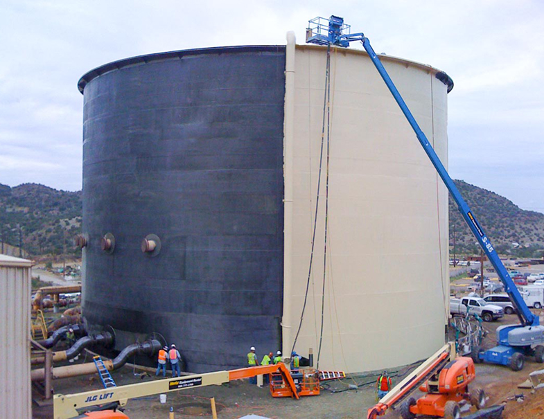 Topcoat being applied to the wastewater tank after the carbseal repair
