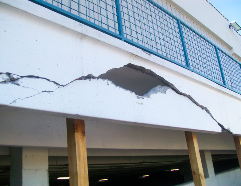 exterior view of the damaged beam