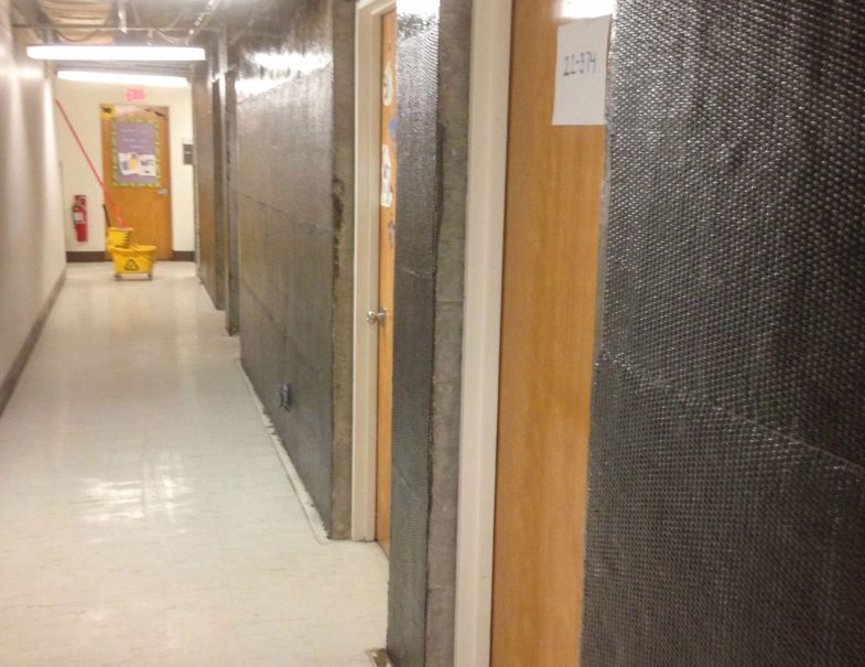 Marion Davies hallway with carbonseal carbon fiber installed, prior to painting