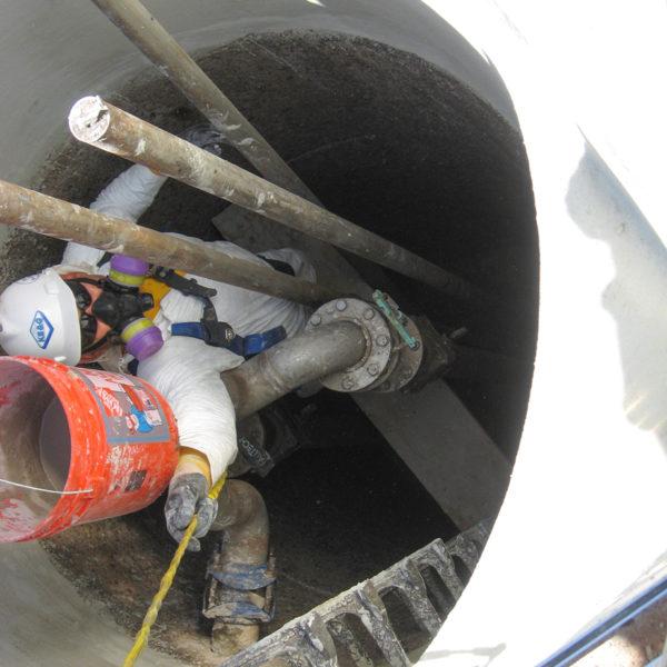 laboratory manhole repair in progress
