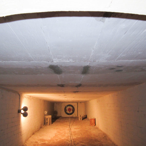 Crawl space with visibly sagging, or bowed ceiling.