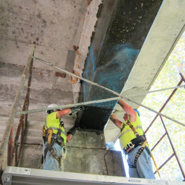 hj3 applying carbonseal carbon fiber to damaged concrete beam