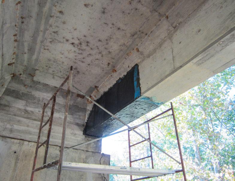 Parking Lot Concrete Support Beam Carbon Fiber Repair Hj3