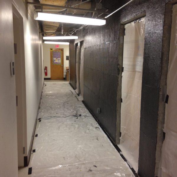 Hallway at Marion Davies children's hospital with carbon fiber seismic retrofit